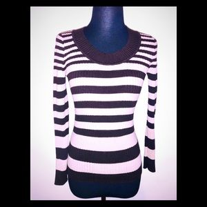 Cozy Long Sleeved Brown & Beige Striped Sweater
